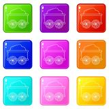 Train wagon icons set 9 color collection vector illustration