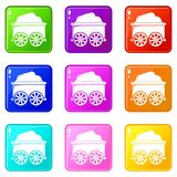 Train wagon icons set 9 color collection royalty free illustration