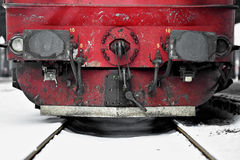 Train wagon links in winter time Stock Photos