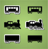 Train and wagon silhouets Stock Photo