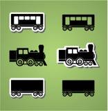 Train and wagon silhouets Stock Photo