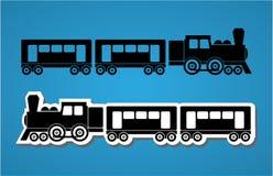 Train and wagon silhouets Stock Photography