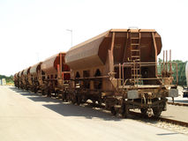 Train wagons. Industrial train wagons standing still Stock Photo