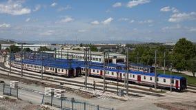 Train Wagons. Parked in rows at Ankara, Turkey Royalty Free Stock Images