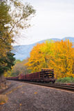 Train wagons carrying loads in the autumn rail road Stock Image