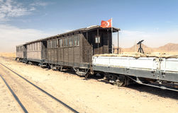 Train wagons in the desert Royalty Free Stock Photo