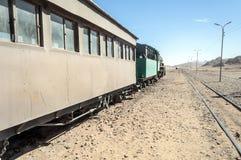 Train wagons in the desert Stock Photo