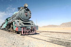 Train wagons in the desert Stock Image
