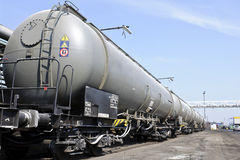 Train wagons for liquid transport. On industry plot Stock Photo