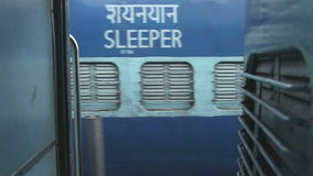 Train wagons from outside, view from moving train in Amritsar. stock footage