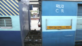 Train wagons from outside, view from moving train in Amritsar. stock video