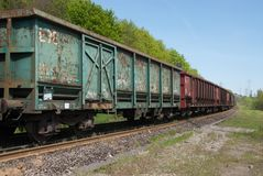 Train wagons in perspective view stock photos
