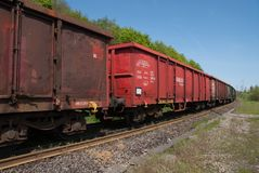 Train wagons in perspective view stock photo