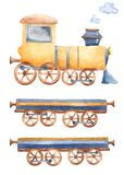 A train with wagons and smoke with watercolor. royalty free illustration
