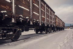 Train wagons in the snow Stock Images