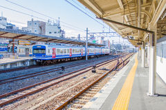 Train waiting for passenger at the Kyoto station. Kyoto, Japan - December 14, 2015 : Train waiting for passenger at the Kyoto station. JR West is the biggest Royalty Free Stock Images