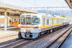Train waiting for passenger at the Kyoto station Royalty Free Stock Images