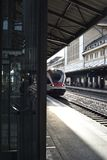 Train waiting to go at Lausanne railway station stock image