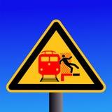 Train warning sign Royalty Free Stock Photo