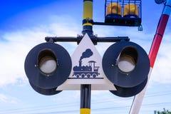 Train warning sign, railway crossing stock photos