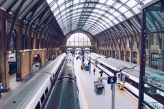 Train was ready to off at King's Cross St. Pancras stock photo