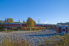 Train on the way to halden station Stock Images
