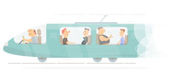 Train. For web banner and site. Cartoon character funny and comic style Royalty Free Stock Photos