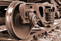 Train wheel. The wheels of freight train stopped on the tracks Royalty Free Stock Photography