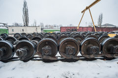 Train wheel factory Royalty Free Stock Images