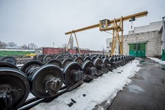 Train wheel factory Royalty Free Stock Photography