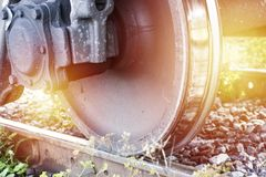 Train wheel on the railway. Stock Images