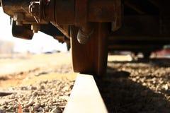 Train Wheel On Track Close Up Stock Image