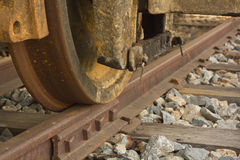 Train wheel on track Royalty Free Stock Images
