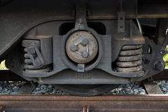 Train wheel track with suspension and break system royalty free stock images
