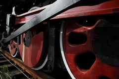 Train wheels. Details of the wheels and undercarriage of a train car or lorry Royalty Free Stock Photo