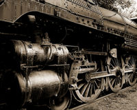 Train Wheels. A side view of a train and its wheels Stock Photography