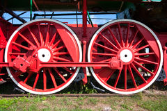 Train wheels. Detail of old locomotive Royalty Free Stock Photo