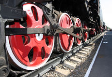 Train wheels. Steam locomotive wheels in perspective view Royalty Free Stock Images