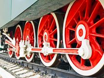 Train wheels. Close-up of standing locomotive red and white wheels Stock Photo