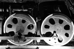 Train wheels  in black and white Royalty Free Stock Image