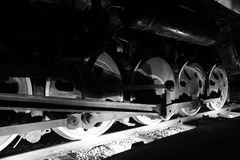 Train wheels  in black and white Royalty Free Stock Photography