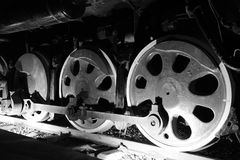 Train wheels  in black and white Royalty Free Stock Photos