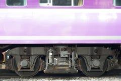 Train wheels on the bottom rail Royalty Free Stock Photos