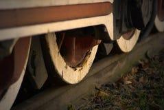 Train wheels. Old train wheels on a rail Royalty Free Stock Photo