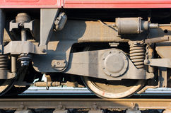 Train wheels on rails Stock Photo