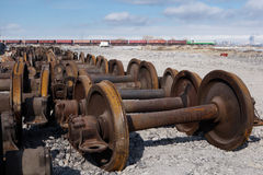 Train wheels for recycling Royalty Free Stock Images
