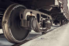 Train wheels on track in winter Stock Image