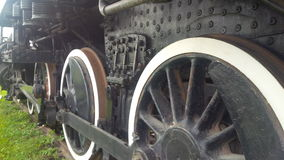 Train Wheels. Up close look at the wheels of a train at the Railway Museum of Eastern Ontario, Smiths Falls, Ontario, Canada Stock Photo