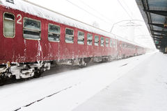 Train who arrived during a snow storm Royalty Free Stock Photo