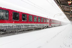 Train who arrived during a snow storm Royalty Free Stock Photos